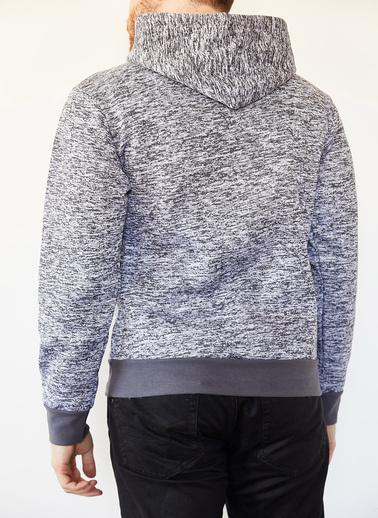 XHAN Gri Melanj Kırçıllı Kapüşonlu Şardonlu Slikonlu Üç Iplik Sweatshirt 0Yxe8-44071-32 Gri